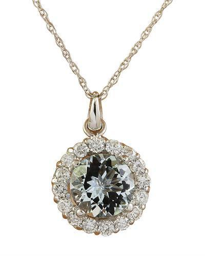 1.82 Carat Aquamarine 14K White Gold Diamond Necklace