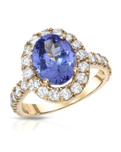 Lundstrom Brand New Ring with 5.21ctw of Precious Stones - diamond and tanzanite 14K Yellow gold