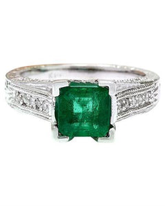 1.96 Carat Natural Emerald 14K Solid White Gold Diamond Ring