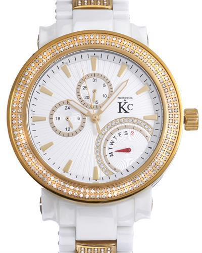 Techno Com by KC Brand New Japan Quartz day date Watch with 4ctw of Precious Stones - crystal and diamond