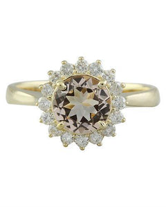 1.50 Carat Morganite 14K Yellow Gold Diamond Ring