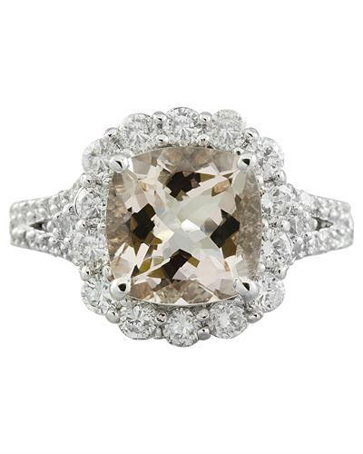 3.70 Carat Morganite 14K White Gold Diamond Ring