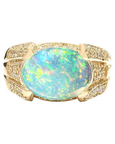 5.90 Carat Natural Opal 14K Solid Yellow Gold Diamond Ring