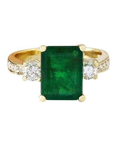 4.07 Carat Natural Emerald 14K Solid Yellow Gold Diamond Ring