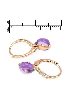 Brand New Earring with 3.37ctw of Precious Stones - amethyst and diamond 14K Rose gold