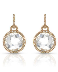 Brand New Earring with 17.35ctw of Precious Stones - diamond and quartz 14K Rose gold