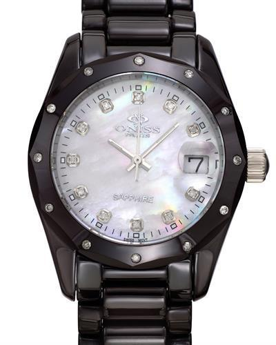 Oniss ON601-L/BR PARIS Brand New Swiss Quartz date Watch with 0.18ctw of Precious Stones - diamond and mother of pearl