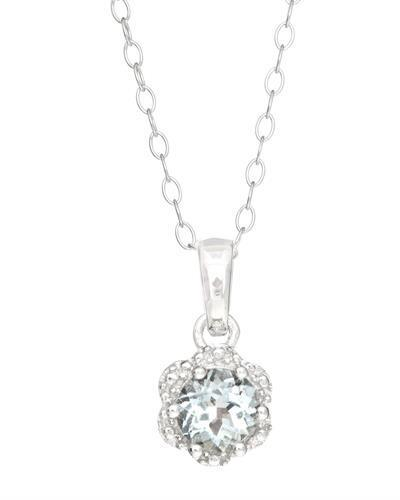 Brand New Necklace with 0.41ctw aquamarine 925 Silver sterling silver