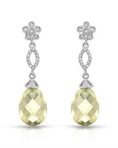 Brand New Earring with 8.7ctw of Precious Stones - diamond and quartz 14K White gold