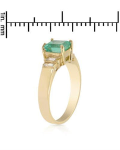 Brand New Ring with 2.3ctw of Precious Stones - diamond and emerald 14K Yellow gold