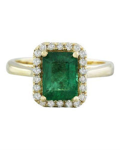2.30 Carat Emerald 14K Yellow Gold Diamond Ring