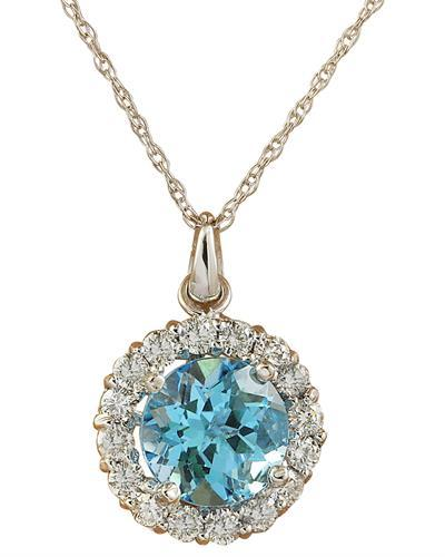 1.82 Carat Topaz 14K White Gold Diamond Necklace