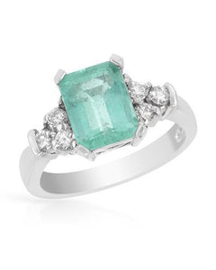 Brand New Ring with 2.75ctw of Precious Stones - diamond and emerald 14K White gold