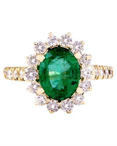 3.03 Carat Natural Emerald 14K Solid Yellow Gold Diamond Ring