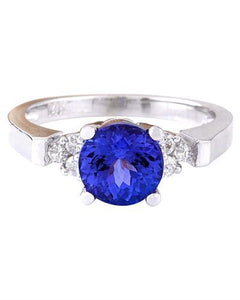 2.35 Carat Natural Tanzanite 14K Solid White Gold Diamond Ring