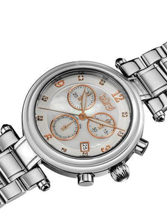 burgi BUR080 Brand New Swiss Quartz day date Watch with 0.04ctw of Precious Stones - diamond and mother of pearl