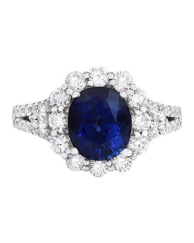 4.80 Carat Natural Sapphire 14K Solid White Gold Diamond Ring
