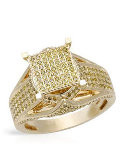 Lundstrom Brand New Ring with 1.13ctw diamond 14K/925 Yellow Gold plated Silver