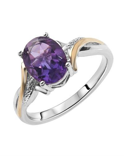 Brand New Ring with 1.75ctw amethyst 10K/925 Two tone Gold and Sterling Silver