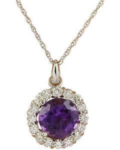 1.82 Carat Amethyst 14K White Gold Diamond Necklace