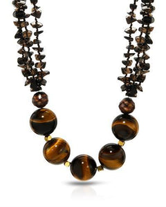 PEARL LUSTRE Brand New Necklace with 0ctw of Precious Stones - pearl, tigers eye, and topaz  Yellow base metal