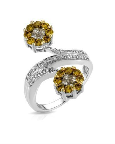 Lundstrom Brand New Ring with 1.19ctw of Precious Stones - diamond, diamond, and diamond 14K White gold