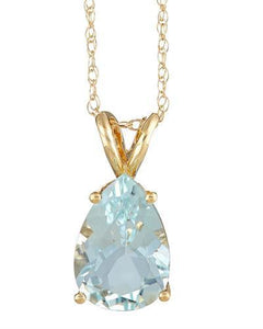 Brand New Necklace with 2.65ctw aquamarine 14K Yellow gold