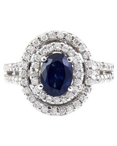 3.10 Carat Natural Sapphire 14K Solid White Gold Diamond Ring
