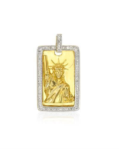 Brand New Pendant with 0.23ctw diamond 14K/925 Yellow Gold plated Silver