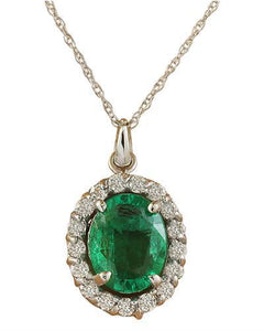 2.00 Carat Emerald 14K White Gold Diamond Necklace