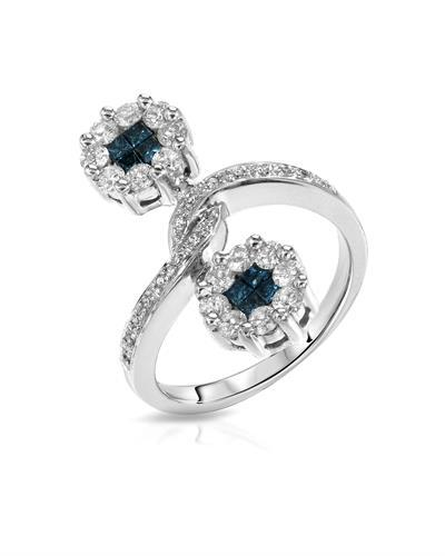 Lundstrom Brand New Ring with 1.19ctw of Precious Stones - diamond and diamond 14K White gold
