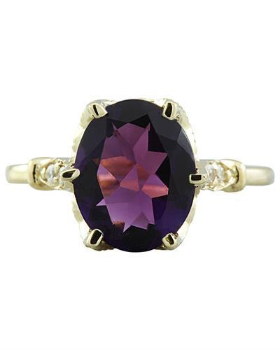 3.41 Carat Amethyst 14K Yellow Gold Diamond Ring