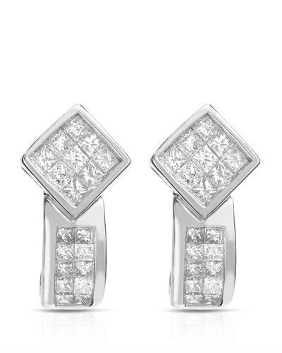 Brand New Earring with 1.02ctw diamond 14K White gold