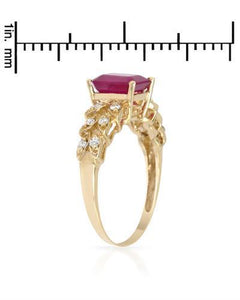 Brand New Ring with 1.48ctw of Precious Stones - diamond and ruby 14K Yellow gold
