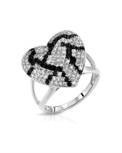 Lundstrom Brand New Ring with 0.72ctw of Precious Stones - diamond and diamond 10K White gold