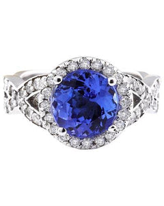3.80 Carat Natural Tanzanite 14K Solid White Gold Diamond Ring