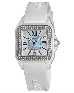 Akribos XXIV AK546WT Brand New Quartz date Watch with 0ctw of Precious Stones - crystal and mother of pearl