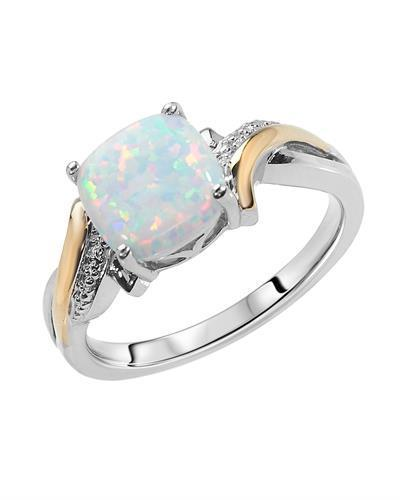 Brand New Ring with 2ctw opal 925 White sterling silver