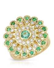 Load image into Gallery viewer, Brand New Ring with 1.79ctw of Precious Stones - diamond, emerald, and emerald 14K Yellow gold