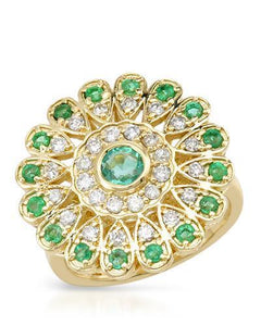 Brand New Ring with 1.79ctw of Precious Stones - diamond, emerald, and emerald 14K Yellow gold