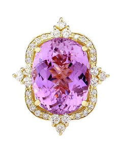 19.89 Carat Natural Kunzite 14K Solid Yellow Gold Diamond Ring
