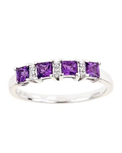 Brand New Ring with 0.58ctw of Precious Stones - amethyst and diamond 925 Silver sterling silver