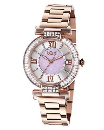 burgi BUR082 Brand New Swiss Quartz date Watch with 0ctw of Precious Stones - crystal and mother of pearl