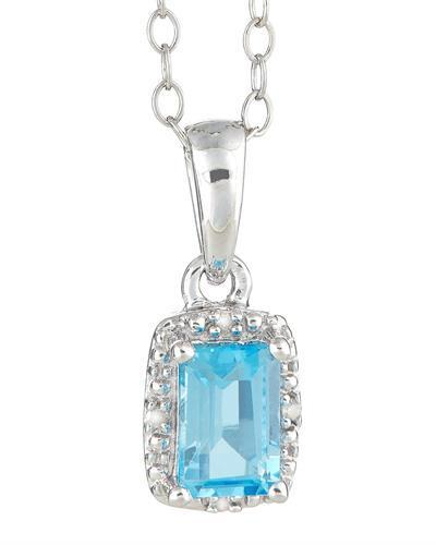 Brand New Necklace with 0.66ctw of Precious Stones - diamond and topaz 925 Silver sterling silver