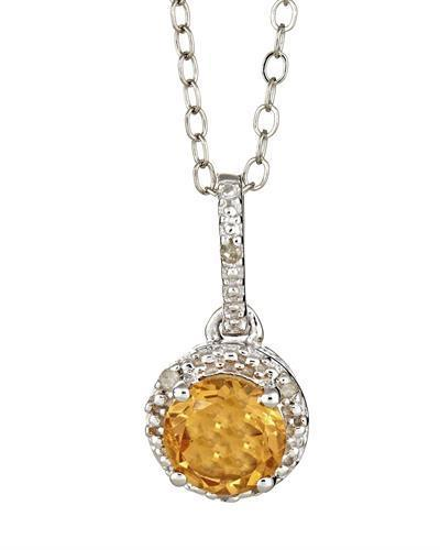 Brand New Necklace with 0.71ctw of Precious Stones - citrine and diamond 925 Silver sterling silver