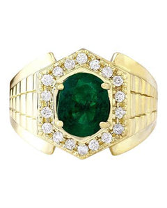 3.45 Carat Natural Emerald 14K Solid Yellow Gold Diamond Ring