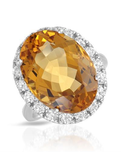 Lundstrom Brand New Ring with 13.55ctw of Precious Stones - citrine and diamond 14K White gold