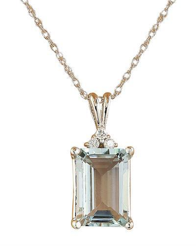 3.43 Carat Aquamarine 14K White Gold Diamond Necklace