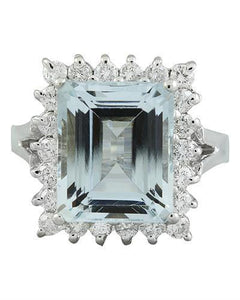 7.23 Carat Aquamarine 14K White Gold Diamond Ring