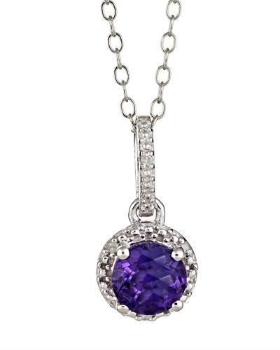Brand New Necklace with 0.71ctw of Precious Stones - amethyst and diamond 925 Silver sterling silver